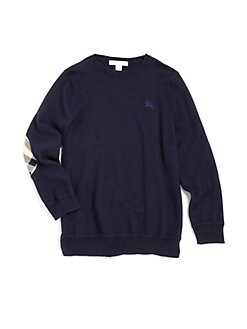 Burberry - Boy's Check Elbow Patch Sweater