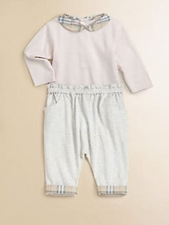 Burberry - Infant's Check-Collar Bodysuit