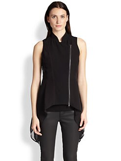 Eileen Fisher - Side-Draped  Woven Silk Vest