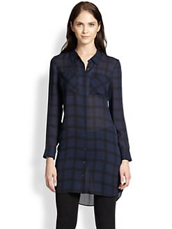 Eileen Fisher - The Fisher Project Silk Plaid Shirt