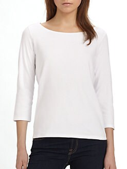 Eileen Fisher - Cotton Ballet-Neck Top