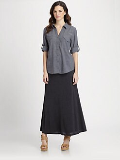 Eileen Fisher - Chambray Roll-Tab Blouse