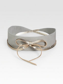 Eileen Fisher - Metallic-Leather Obi Belt