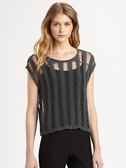 Eileen Fisher - Linen/Cotton Cap-Sleeve Knit Top