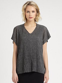 Eileen Fisher - Crinkled V-Neck Tee