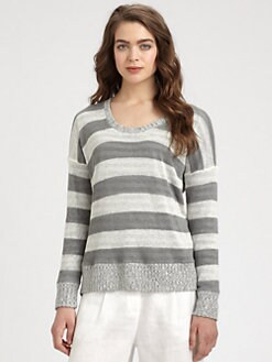 Eileen Fisher - Linen Striped Jersey and Knit Combo Top