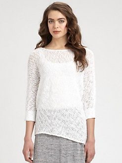 Eileen Fisher - Dolman-Sleeved Open-Knit Cotton Sweater