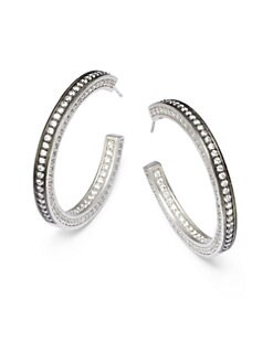 Belargo - Bling Hoop Rhodium Earrings