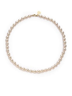 Majorica - 8MM Cream Round Pearl 18K Gold Vermeil Strand Necklace