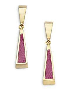 Kara Ross - Deco Lizard Skin Stick Earrings