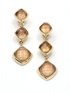 Kara Ross - Cushion Cut Snakeskin Linear Earrings