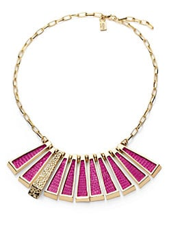 Kara Ross - Lizard Skin Deco Stick Necklace/Pink