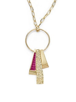 Kara Ross - Lizard Skin Deco Stick Charm Necklace
