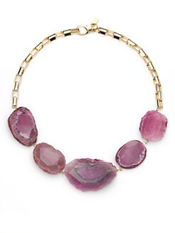Kara Ross - Variegated Agate Necklace/Pink