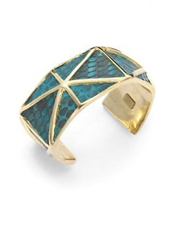 Kara Ross - Lizard Skin Horizontal Inset Thin Cuff