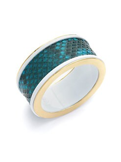 Kara Ross - Turquoise Lizard Skin & Resin Wide Bangle