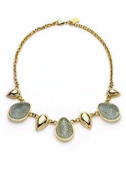 Kara Ross - Water Snakeskin Resin Cast Teardrop Necklace