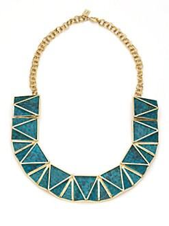 Kara Ross - Python Skin Pyramid Bib Necklace