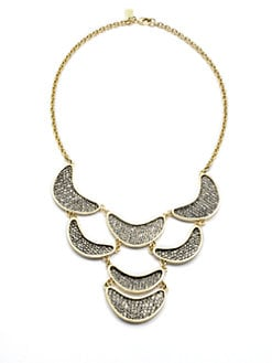 Kara Ross - Natural Lizard Skin Crescent Bib Necklace