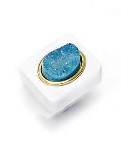Kara Ross - White Resin Druzy Ring/Turquoise