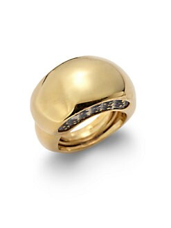 Kara Ross - Gold Washed Lizard Skin Inset Crescent Dome Ring