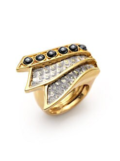 Kara Ross - Hematite & Gold Washed Lizard Skin Tail Ring