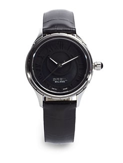 Breil - 939 Croc Leather & Stainless Steel Watch/Black