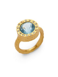 Kevia - Handmade Textured Blue Topaz Ring
