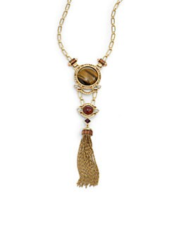 Judith Leiber - Swarovski Crystal & Tiger's Eye Tassel Necklace