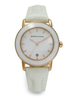 BCBGMAXAZRIA - Stainless Steel Crocodile Leather Watch