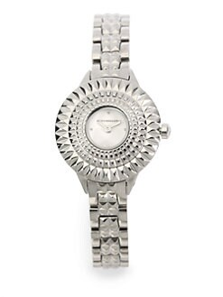 BCBGMAXAZRIA - Textured Bezel Stainless Steel Watch/Silver
