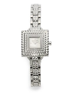 BCBGMAXAZRIA - Square Textured Bezel Stainless Steel Watch