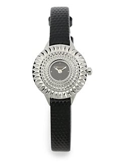 BCBGMAXAZRIA - Textured Bezel Stainless Steel Watch/Black
