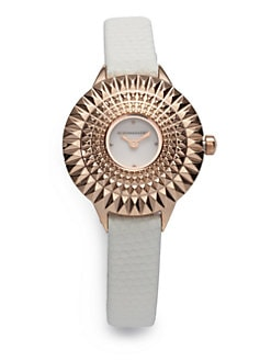 BCBGMAXAZRIA - Textured Bezel Stainless Steel Watch/White