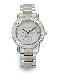 BCBGMAXAZRIA - Stainless Steel Subdial Watch/Silver