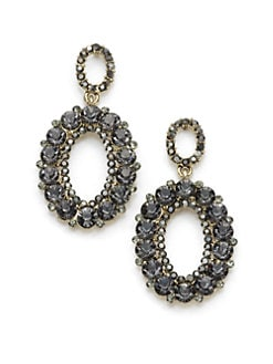  - Crystal Oval Drop Earrings/Black
