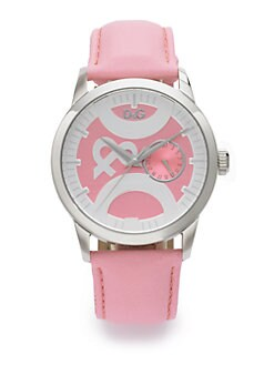 D&G - Stainless Steel & Leather Watch/Pink