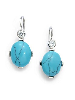 Giorgio Martello - Turquoise & Cubic Zirconia Drop Earrings