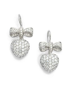 Giorgio Martello - Ribbon & Heart Cubic Zirconia Earrings