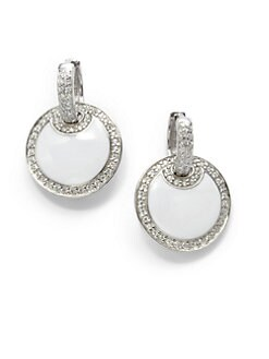 Giorgio Martello - White Agate Round Huggie Earrings