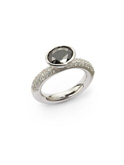 Giorgio Martello - Black Center Stone Sterling Silver Stackable Ring