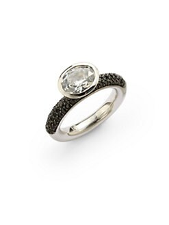 Giorgio Martello - White Center Stone Sterling Silver Stackable Ring