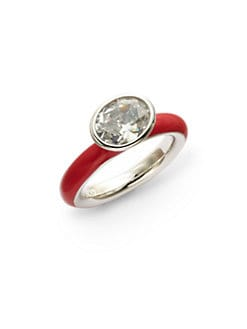 Giorgio Martello - Center Stone & Red Lacquer Stackable Ring