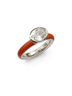 Giorgio Martello - Center Stone & Orange Lacquer Stackable Ring
