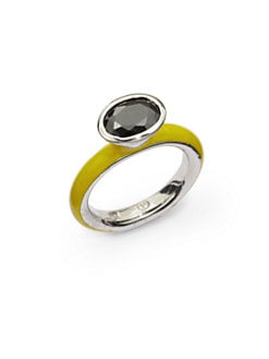Giorgio Martello - Center Stone & Yellow Lacquer Stackable Ring