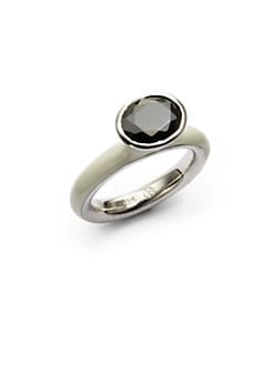 Giorgio Martello - Center Stone & White Lacquer Stackable Ring
