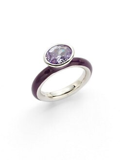 Giorgio Martello - Center Stone & Purple Lacquer Stackable Ring