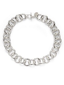 1AR by UNOAERRE - Circle Link Necklace/Silverplated