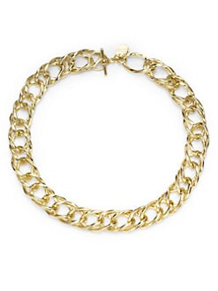 1AR by UNOAERRE - Twisted Rope Double Link Necklace/Yellow Goldplated