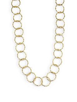 1AR by UNOAERRE - Textured Circle Link Necklace/Yellow Goldplated